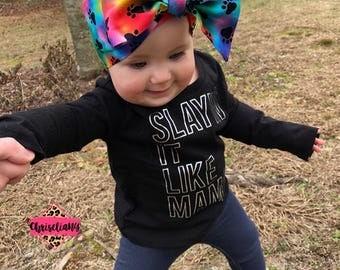 Paw Print Watercolor head wrap, Headwrap, Newborn Headwrap, Fabric Headwraps, rainbow Headwrap, Toddler Headwrap,  baby headwrap