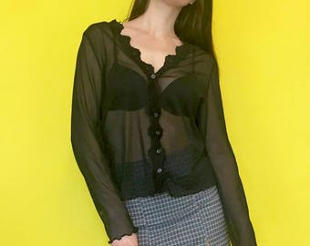 Vintage 90s Y2k Black Sheer See Through Long Sleeve Button Down Ruffle Blouse