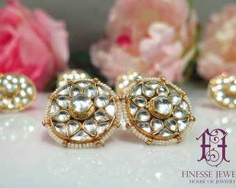 Gold Kundan Seed Pearls Tops Stud Earrings | Indian Jewelry | Statement Earrings | Rare Collectible Jewelry | High End Mughal jewelry