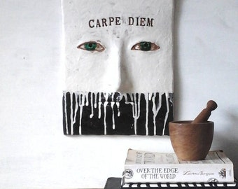 Wall art quote, Carpe Diem, ceramic wall sculpture, black and white minimalist decor 3D tile, male graduation gift, seize the day, wall art
