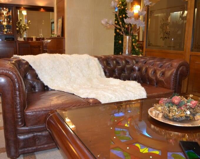 White Persian Lamb Fur Blanket, Fur Throws F790