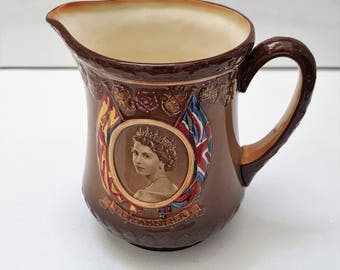 vintage Queen Elizabeth II commemorative pitcher / Jug 1953, limited edition