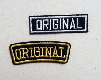 Original patch, sew on patch, iron on patches, iron on applique, embroidered patch, iron on original, gold patch, sewing patch, jacket patch
