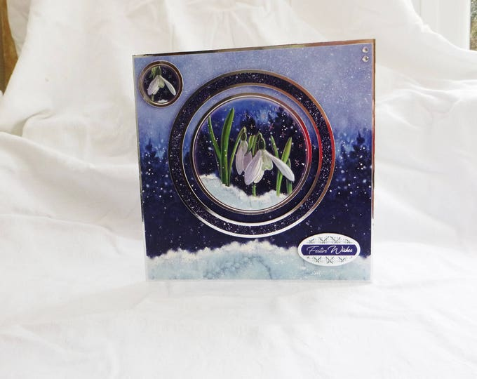 Snowdrop Christmas Card, Greeting Card, Festive Wishes, Snow Drops In Snow, Silver and Blue, Male or Female, Any Age,