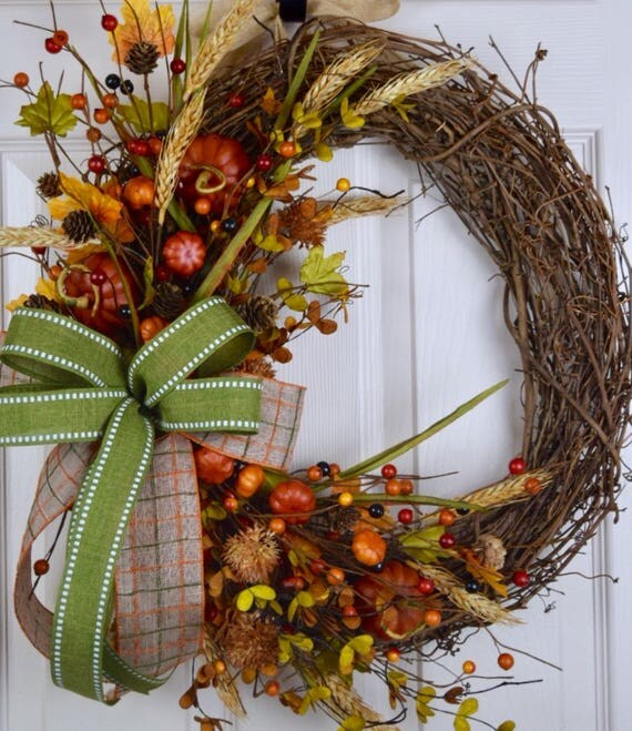 Fall Grapevine Wreath with Fall Accents and Bow; Autumn Wreath Decor; Fall Door Decor; Wreath with Pumpkins Fall Leaves Pine Cones Berries