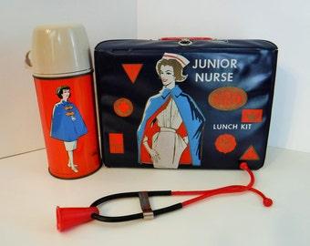 Rare Lunch box, 1963 Nurse Lunch Box, Vinyl Junior Nurse LunchBox with Stethoscope and Thermos, Junior Nurse Lunch Box,Collectible Lunch Box