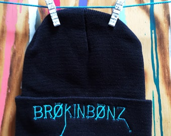 "BRØKINBØNZ Embroidered 12"" Folded Beanie"