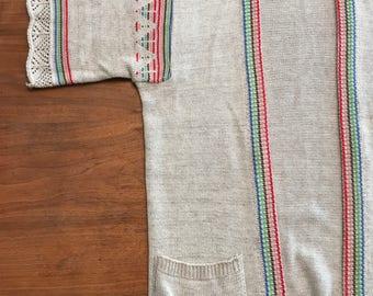 1970's Knit Azure Lightweight Sweater Rainbow Stripes Size Small