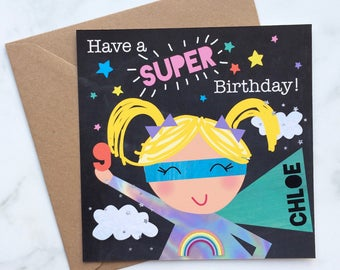 Super Girl Card, Card for a Super Girl, Girl's Birthday Card, Super Hero Birthday Card, Little Girl's Card, Super Card, Hero Card, Girl Hero