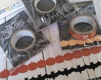 Halloween Washi Tape / Glitter Pumpkin Washi / Glitter Bats Washi / Silver Foil Spiderweb Washi / Decorative Tape / Paper Tape