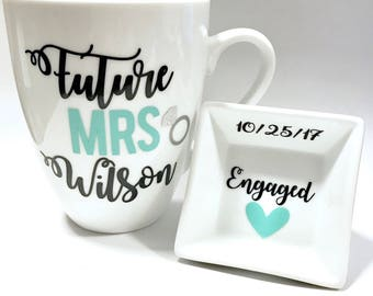 Personalized Engagement Gift Set, Engagement Gift, Future Mrs Gift, Ring Dish, Future Mrs Mug, Engagement Gift Set, Valentines Day Gift