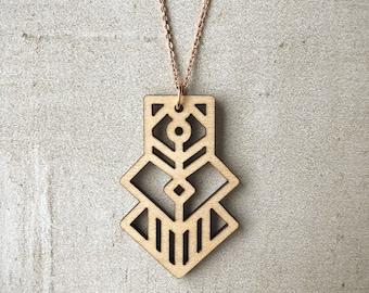 Lima Necklace | Lasercut, Wood, Maple, Rose Gold, Thin Chain, Dainty Chain, Small, Aztec, Tribal, Geometric, Jewelry, Light, Inca, Pendant