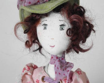Artist doll, Handmade Doll, Rag Doll, Textile Doll, Art Doll - Pink - old lace - rag doll, Ooak, JULIE, hand made art doll