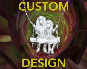 Customized - 2 Girls on a Swing Necklace - Customized hair, hand carved in sterling silver