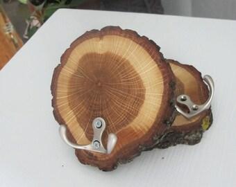 Rustic Wall Hook, Wooden Coat Hook, Oak Wood Slice Hook, Log Cabin Decor