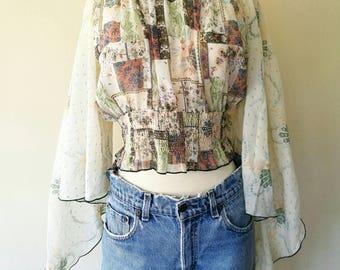 Vintage 1970s sheer off-shoulder flare sleeve blouse
