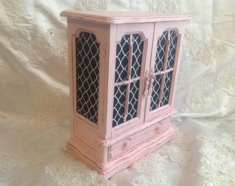 Large Jewelry Box Armoire French Country Handpainted Pink Vintage Wooden Jewelry Box Shabby Chic Distressed Jewelry Box