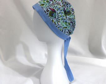 Light Blue Psychedelic Snails Surgical Scrub Cap Dental Chemo Hat