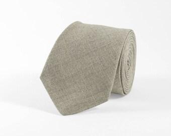 Light grey tie, beige tie, natural linen tie, light grey linen necktie, gray mens necktie, linen bow tie, wedding bow tie, bow tie for men