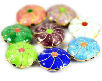 Cloisonne Flower Beads Multi Colors Blue Green Purple Orange White - 18mm - Package of 8