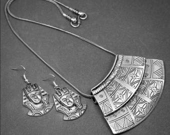 Pharaoh Necklace Earrings Set, Oxidized silver, Egyptian, German silver, Necklace, Earrings, Ancient style