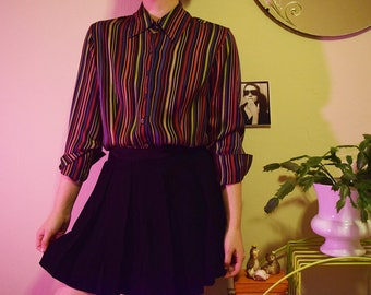 90's Silk Multi-colored Button-up Blouse