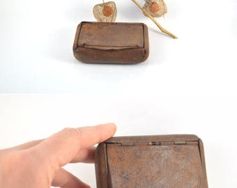 Small Rusty Metal Box, Vintage Small Storage Container, Engraved Cigarette Case, Antique Tobacco Box, Tarnished Cigarette Holder For Him