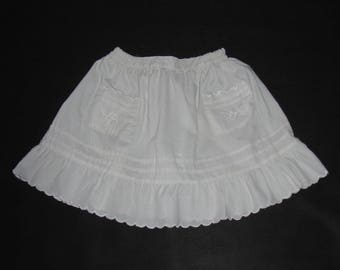 Girl SKIRT vintage folk white skirt for girl frills sweet costume skirt