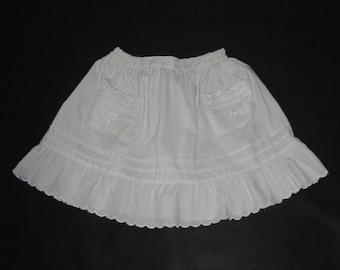 Girl SKIRT vintage folk white skirt for girl frills sweet costume skirt