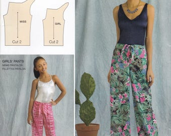 FREE US SHIP Simplicity 0665 8390 Sewing Pattern Easy Mother Daughter Matching Sarong Tie Front Pants Uncut Miss Size  6/26 Girls 7/16