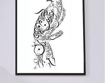 Arabic Calligraphy Art - Persian Poetry - Rumi Poetry - Arabic Calligraphy Hawk - Arabic Wall Art