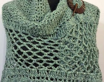 Crocheted Scarf, Crocheted Wrap, Crocheted Shawl, Pale Blue and Green, Gifts for Her, Wearable Art, Bridal Accessories, GracefulEweFiberArts
