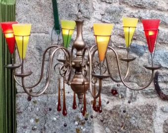 Tealight Chandelier, Outdoor Chandelier, Boho Garden Chandelier, Porch Candle Lighting,