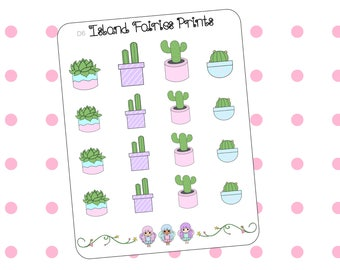 Succulents and Cactus Plants Planner Stickers D7