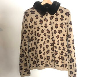 Leopard Zip up Sweater Faux Fur Removable Collar
