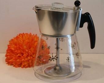 Douglas Flameproof - Glass Coffee Percolator - Gold Snowflake Pattern Coffee Pot - Vintage Kitchen Percolator - 8 Cup Coffee Maker