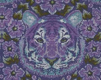 Tula Pink; Eden; Crouching Tiger in Amethyst; 1/2 yard cotton woven fabric