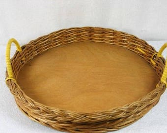 Vintage Wicker Serving Tray Yellow Handles Rattan Serving Tray Wicker Tray Retro Serving Tray Unique Serving Tray