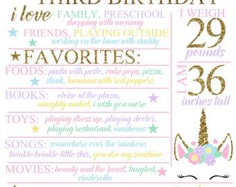 Unicorn Birthday Chalkboard / 3rd Birthday Board / Magical Unicorn Chalkboard / Pink and Gold Chalkboard / Magical Unicorn Poster / Unicorns