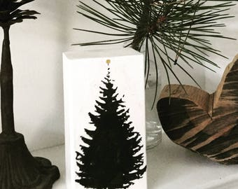 Wooden Christmas ornament with fir tree motif