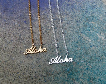 Dainty Aloha Necklace, Silver Aloha Necklace, Beach Necklace, Gold Aloha Necklace, Hawaiian Necklace, Tropical Beach