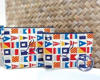 Monogrammed Cosmetic Bag,Monogrammed makeup bag, Monogrammed Bridesmaids Gifts, Nautical Flag Cosmetic Bags, Nautical Cosmetic Bags