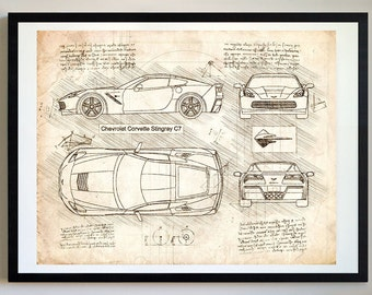 Corvette Stingray C7 (2013) Da Vinci Sketch, Corvette Artwork, Blueprint Specs, Blueprint Patent Prints Posters, Art, Car Art, Cars (#250)