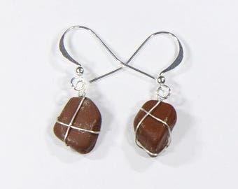 Jasper beach pebble earrings with sterling silver wire