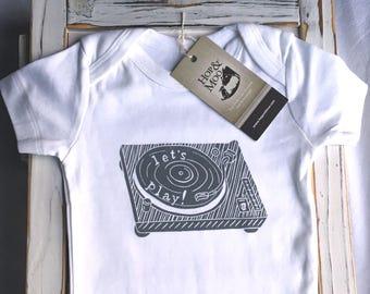VINTAGE VINYL PLAYER- Organic Hand Printed Baby Bodysuit