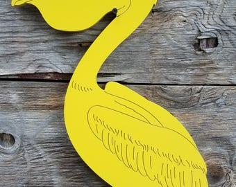 Pelican Wall Hanging Sign Beach Decor Wall Decor Stained or Painted Wooden Sign