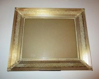 Elegant Vintage Gilt Metal Picture Frame French Provincial Shabby Chic Pierced Antiqued Gold Floral Scroll