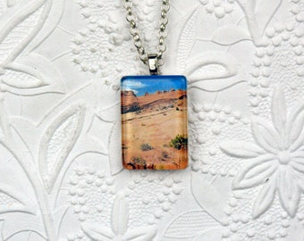 Arches National Park Souvenir Pendant Photo Jewelry Rectangle Photo Pendant Desert Landscape Photography