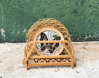 Vintage Butterfly Coasters with Wicker Caddy | Vintage Taxidermy