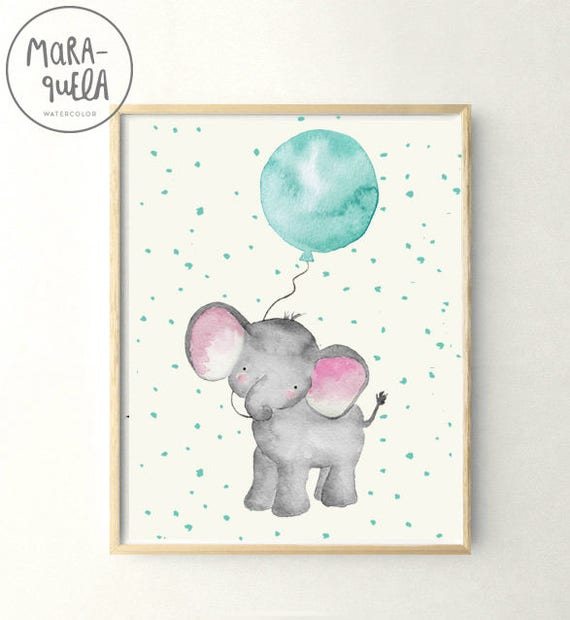 Little ELEPHANT teal BLUE balloon Watercolor. Elefante en acuarela con globo Verde Agua y fondo puntos.